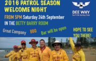 2016 Patrol Season Welcome Night - Sat 24th Sept