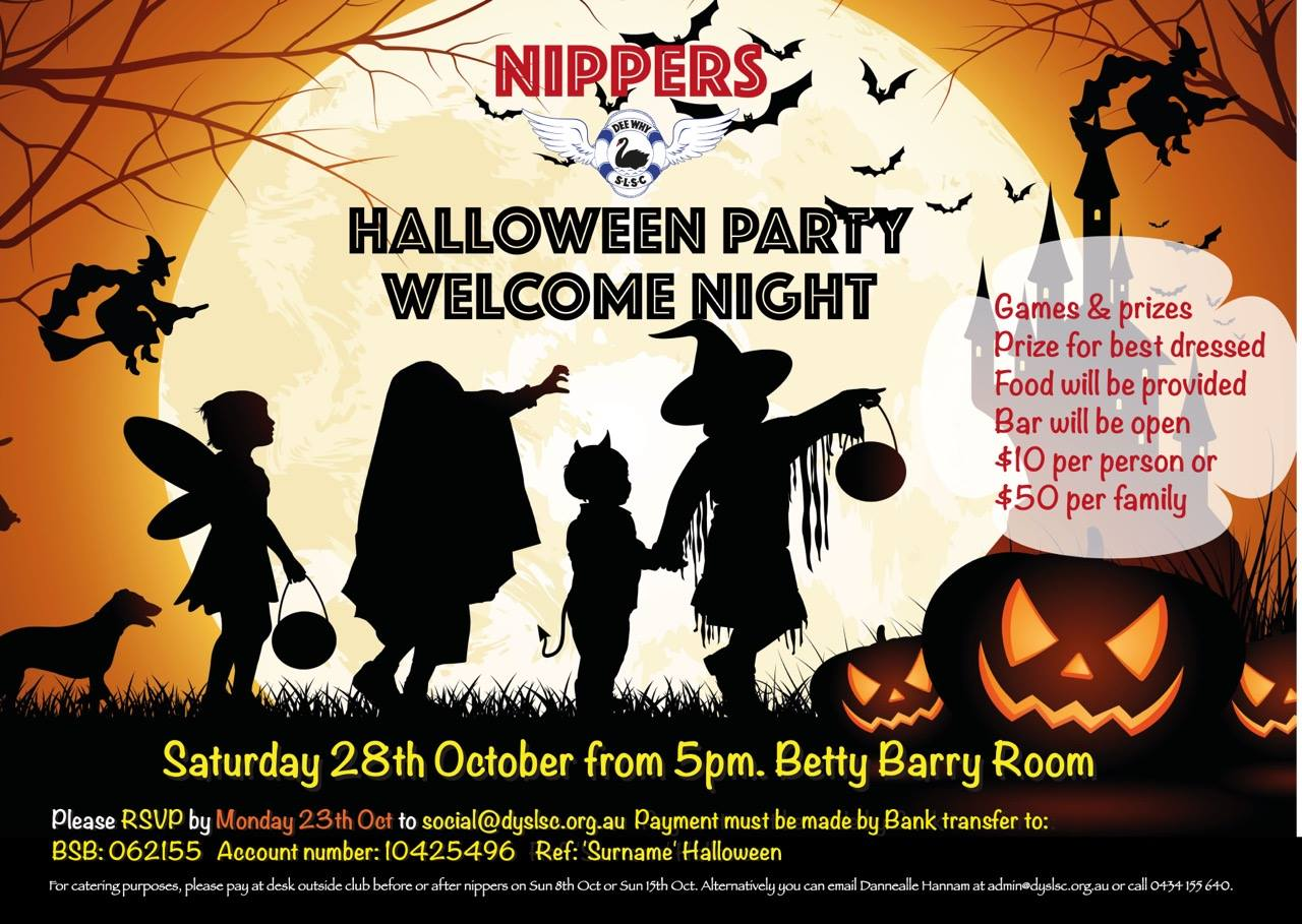 nippers halloween party & welcome night – sat 28th oct | dee why slsc